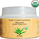 Organic Aloe Vera Gel Large 4 oz Jar, USDA Certified Organic by Mary Tylor Naturals, Premium Grade, Natural and Cold Pressed - For Face, Skin, Hair, Sun Burns, Damaged Skin and Acne