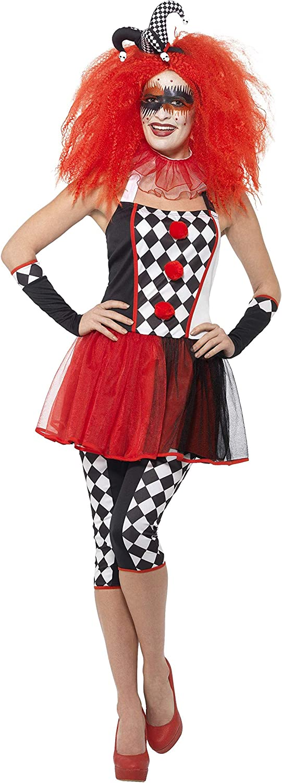 Smiffys Disfraz de arlequín perverso, Negro y Rojo, con Vestido, Mallas, Guantes, Collar
