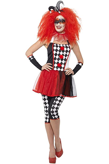 Ladies Joker Smiffy/'s Halloween Fancy Dress Costume SALE Twisted Harlequin