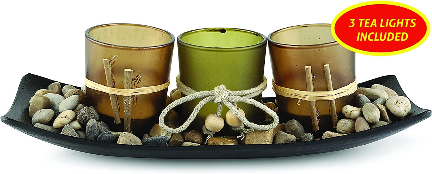 My Charity Boxes Tea Light Candle Holder Set with 3 Decorative Candle Holders, Rocks and Tray Home Decor Ideal Gift for Friend,Wedding,Party,Spa