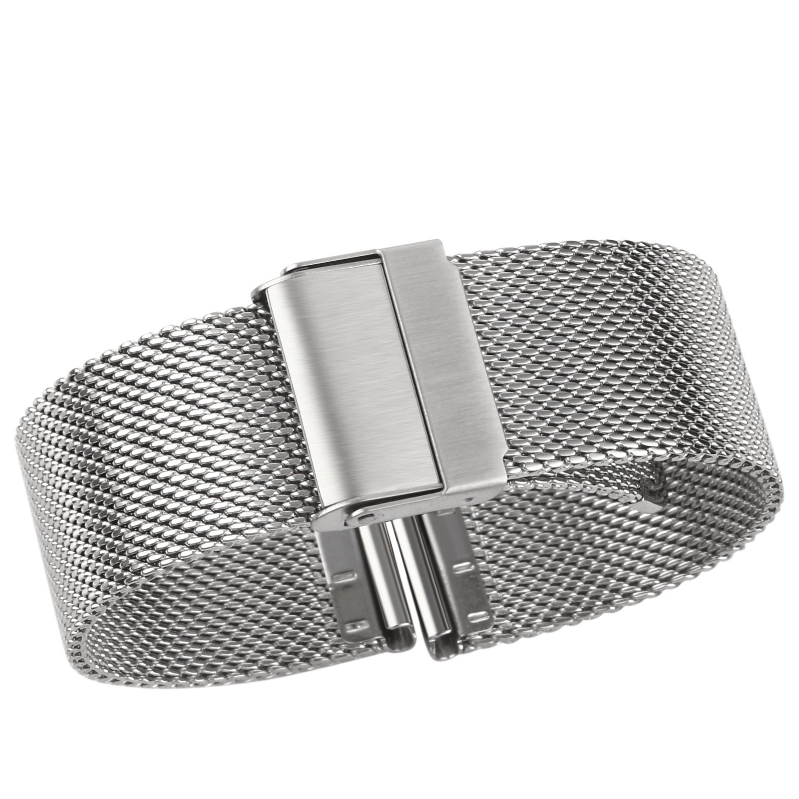 Luxury High-end Fashion Watch Mesh Band Metal Milanese Strap Deluxe Replacement Bracelet for Watch with Solid Safety Folding Clasp, 316L Stainless Steel, for Men & Women, Silver 22mm