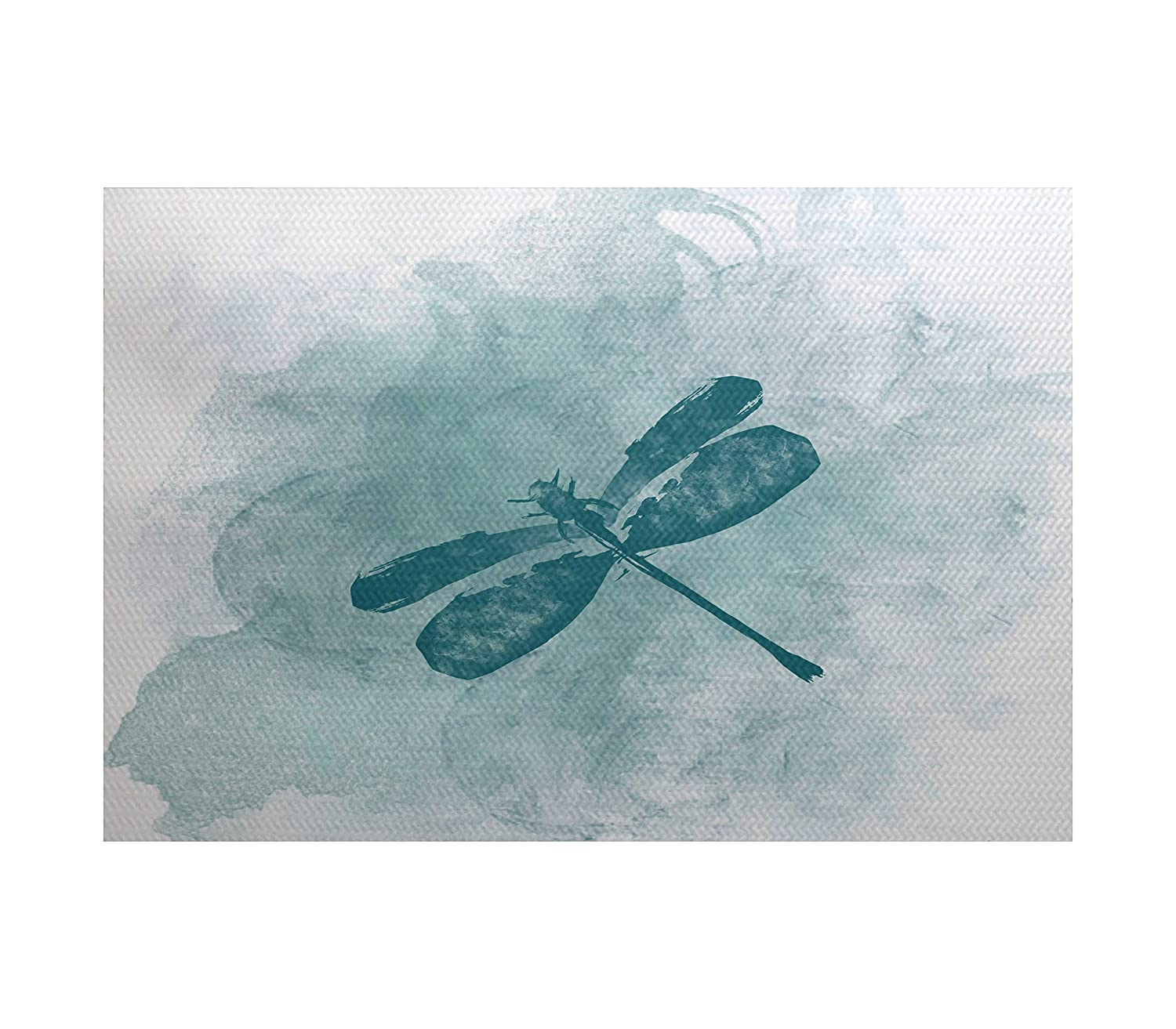 E by design Dragonfly Summer Animal Print Indoor/Outdoor Rug 3' x 5' Teal