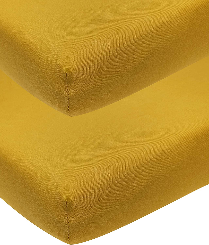 S/ábana bajera ajustable para cuna 100/% algod/ón, 70 x 140 cm, 2 piezas Dudu N Girlie color crema y amarillo