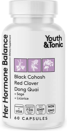 Hormone Balance for Women PMS & Menopause Relief Support Pills   Ease Female All Stages Hormonal Imbalance w Natural Herbal Supplements   Black Cohosh Red Clover Dong Quai Soy Isoflavones Complex
