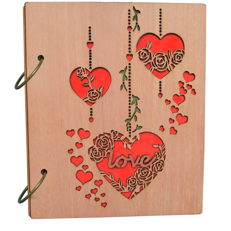 PETAFLOP 4x6 Photo Album Heart and Love Design Wooden Photo Albums 120 Pockets