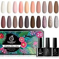 Beetles 20Pcs Gel Nail Polish Kit, Soak Off Nail Gel Polish Set Nude Glitter Pastel Pink Gel Nail Kit Peach Brown…