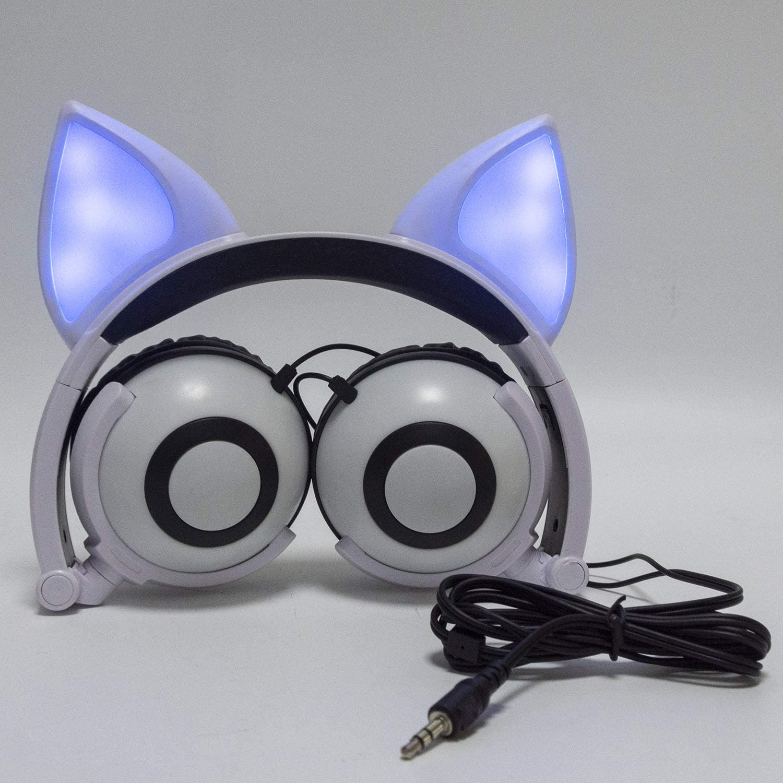 LIMSON Filaire Pliable Enfants Casque Blanc 3.5mm Plug Clignotant Écouteurs pour MP3 MP4 PC Ordinateur Portable Téléphone Mobile