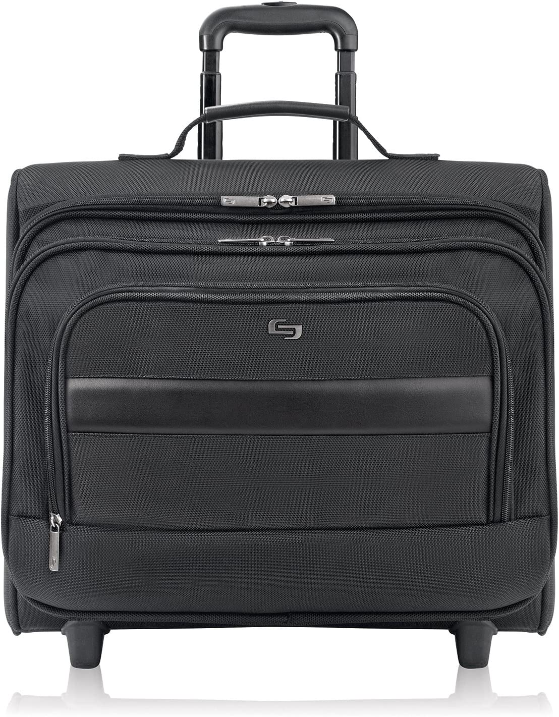 Solo New York Columbus Rolling Overnight Laptop Bag. Rolling Laptop Overnighter Case with Removable Sleeve fits up 15.6 inch laptop - Black