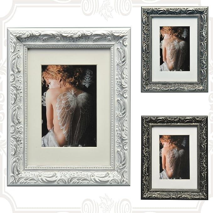 WOLTU 1 X Cadre photo en bois et verre Baroque Style 13X18cm,Noir BR9763
