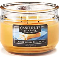 Candle-Lite Everyday Scented Orange Vanilla Dreamsicle 3-Wick Jar, 10 oz, Yellow