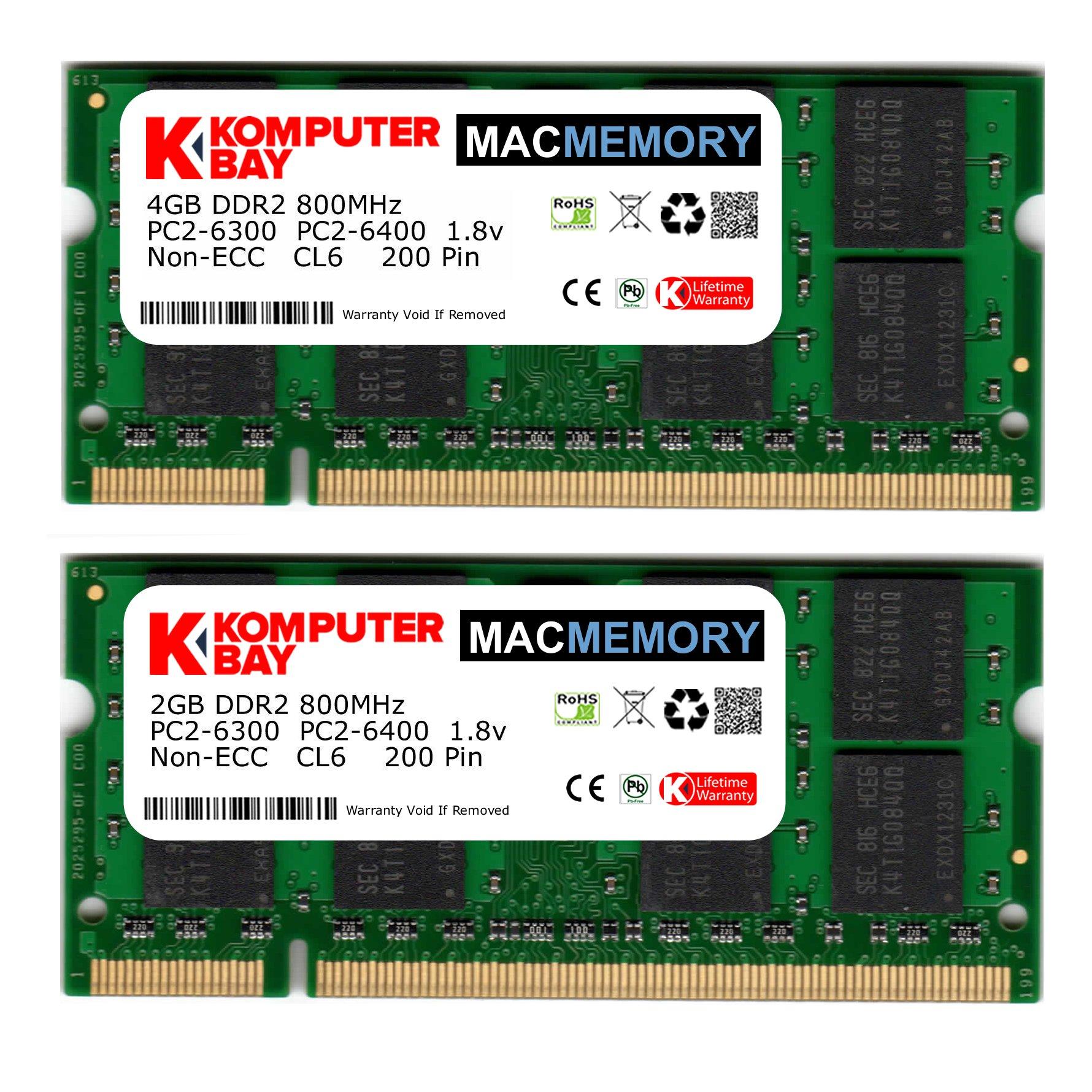 Memoria RAM 4GB Komputerbay MAC 6GB Kit ( + 2GB Modules) PC2-6300 800MHz DDR2 SODIMM para Apple iMac 20 2008 2.4GHz 2.66