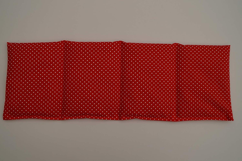 K/örnerkissen Bio-Weizen 4-Kammern 50cm x 17cm rot mit wei/ßen Punkten