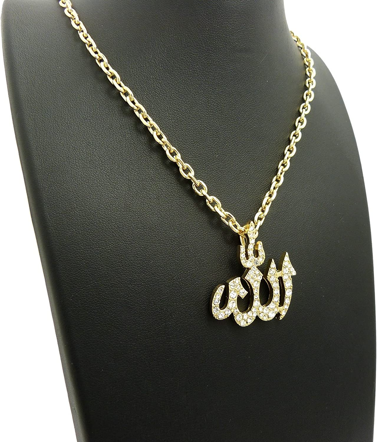 Silver Tone Plated Fashion 21 Arabic Allah Pendant 24 inches Various Chain Necklace in Gold