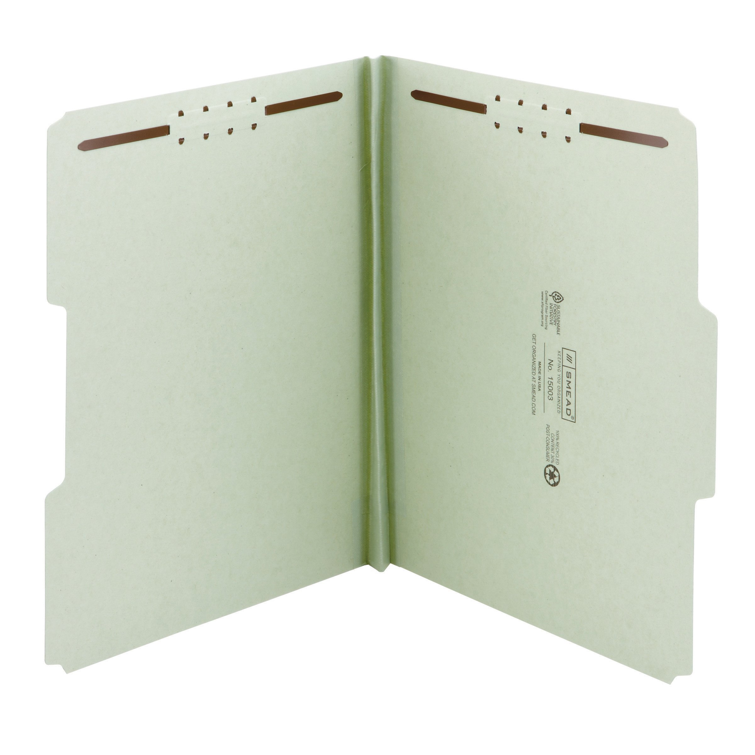 Smead 100% Recycled Pressboard Fastener File Folder, 2 Fasteners, 1/3-Cut Tab, 1'' Expansion, Letter Size, Gray/Green, 25 per Box (15003)