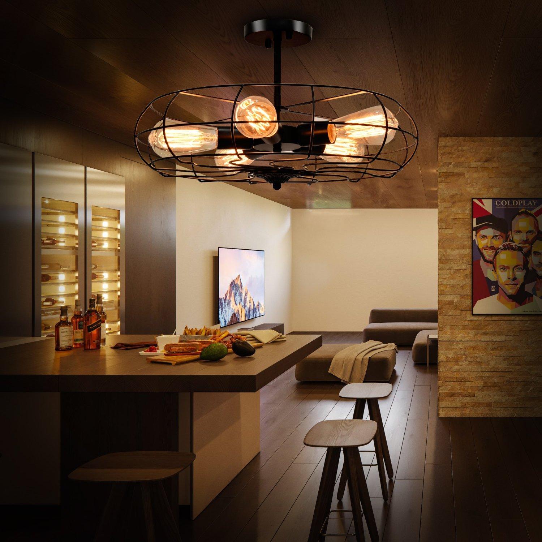 Amazon.com: tangkula Semi Flush Mount luz industrial estilo ...