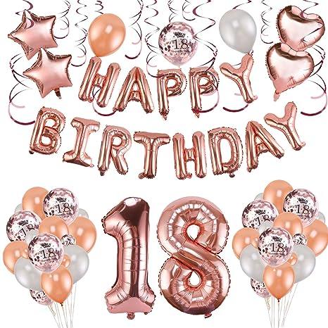 Howaf Decoración de cumpleaños 18 en Oro Rosa, 59 Piezas Feliz cumpleaños Decoración Globos Guirnalda Banner 18 Años Globos de Confeti y Estrella ...