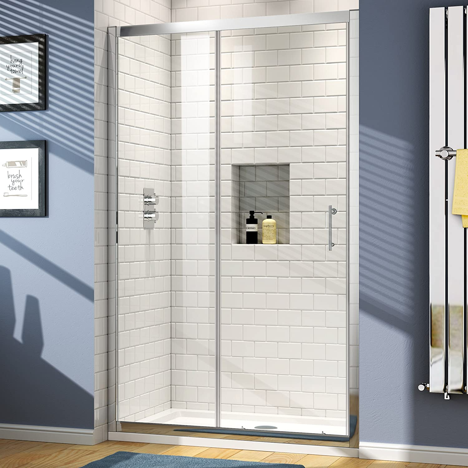 1400 x 800 mm Sliding Glass Shower Door Alcove Enclosure Cubicle ...