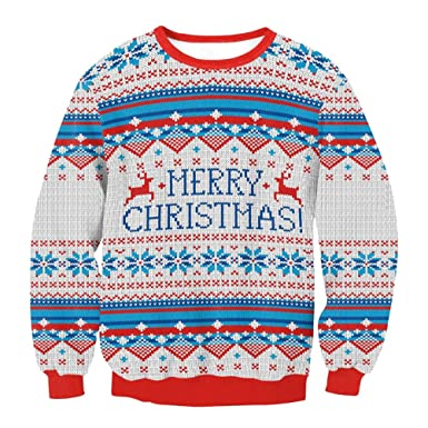 amazon zhhlinyuan merry christmas print round shirt sweater long