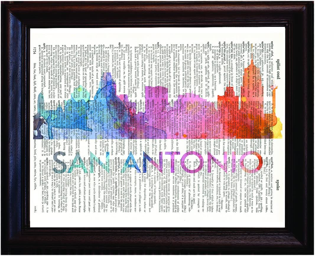 Fresh Prints of CT San Antonio Love Your City Watercolor Skyline Dictionary Art Print Printed On Authentic Vintage Dictionary Book Page