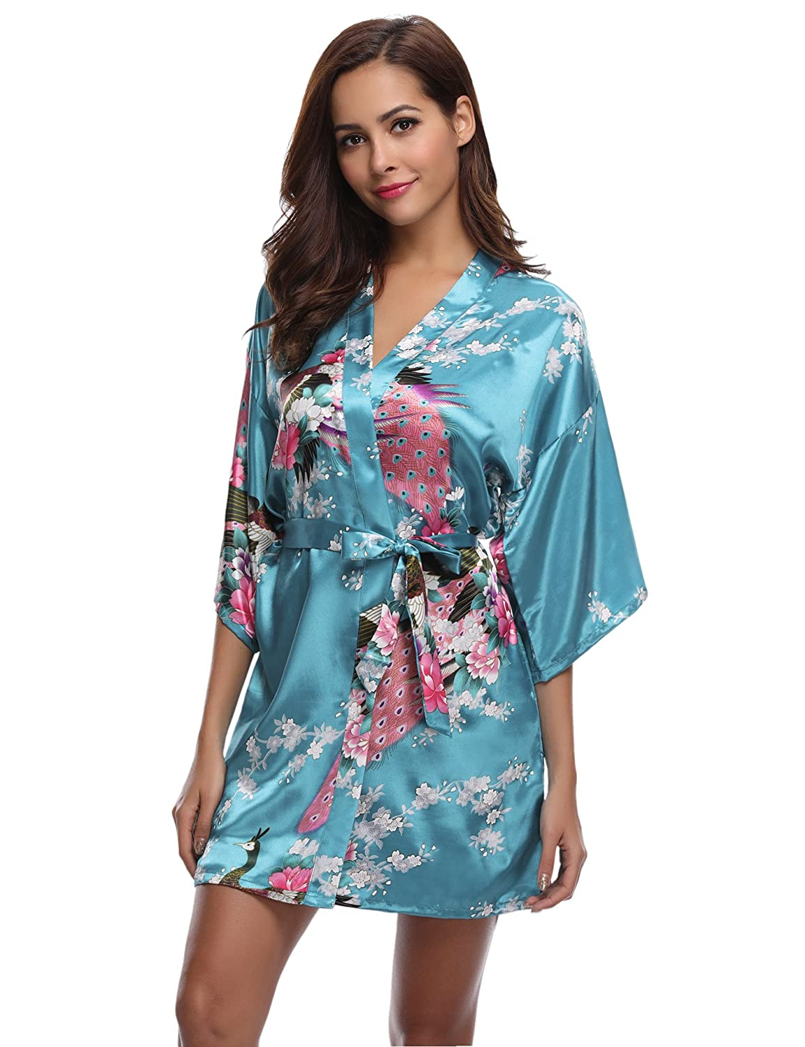 Aibrou Women's Kimono Robes Satin Peacock and Blossoms Silk Nightwear Short Style AM16062402
