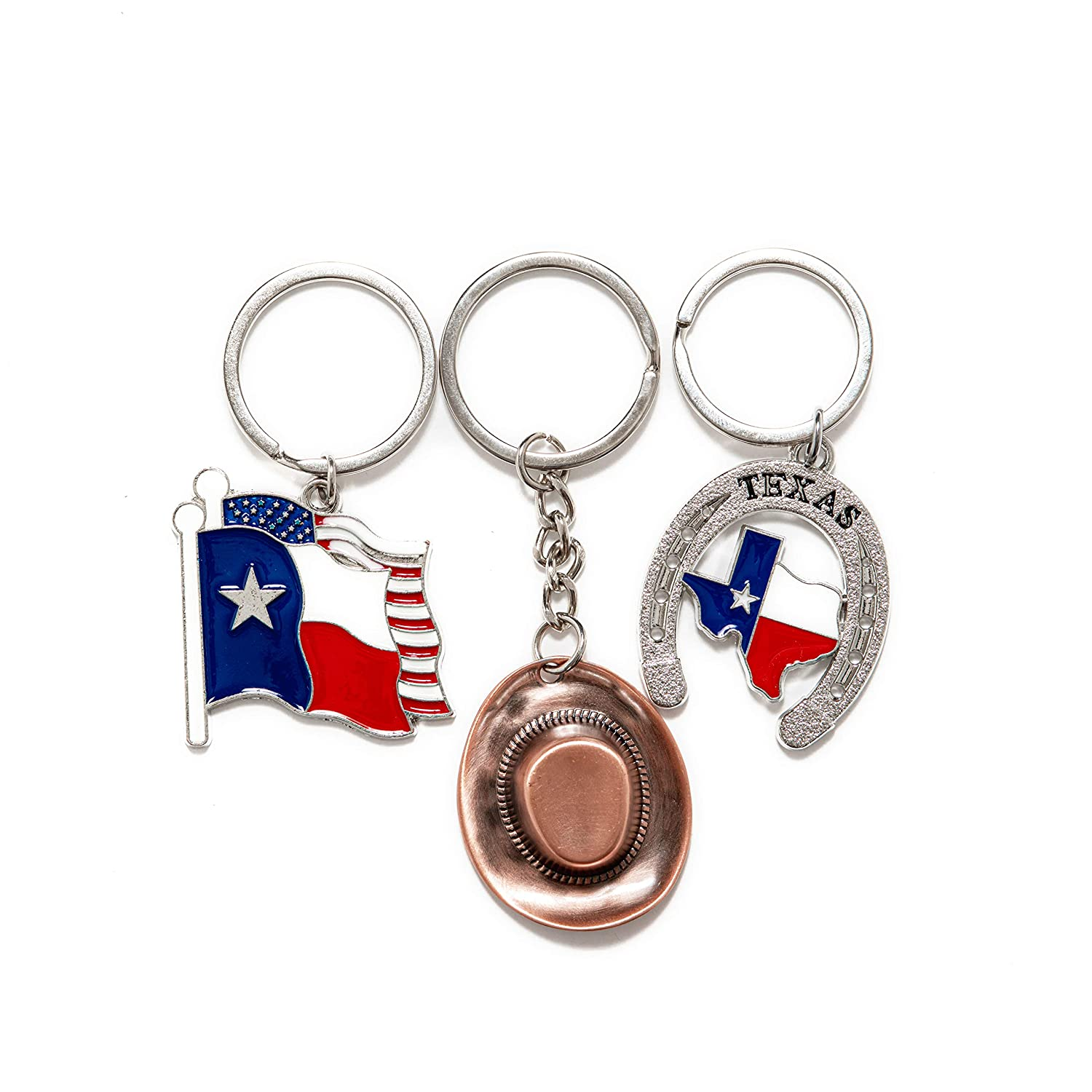 Texas Bundle Souvenir Metal Keychain 12 Pack-Texas Cowboy,Texas Lone Star on Texas State Map, Dont Mess with Texas, I Love Texas, Longhorn, Texas ...