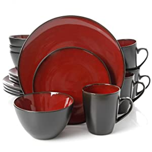 Gibson Overseas, Inc. Gibson Elite 109537.16R Soho Lounge Round 16-Piece Reactive Glaze Dinnerware Set Service of 4, Stoneware, Burgundy/Black