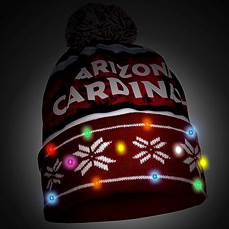 ca6128923cf Amazon.com   FOCO NFL Arizona Cardinals Wordmark Light Up Printed Beanie  Knit Cap
