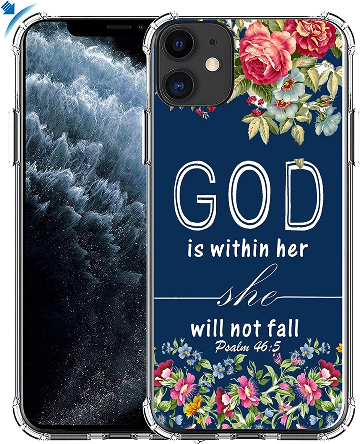 Case for iPhone 11 & MUQR Gel Silicone Slim Drop Proof Heavy Duty Protection Cover Compatible for iPhone 11 & Christian Bible Sayings God is Within Her She Will Not Fall