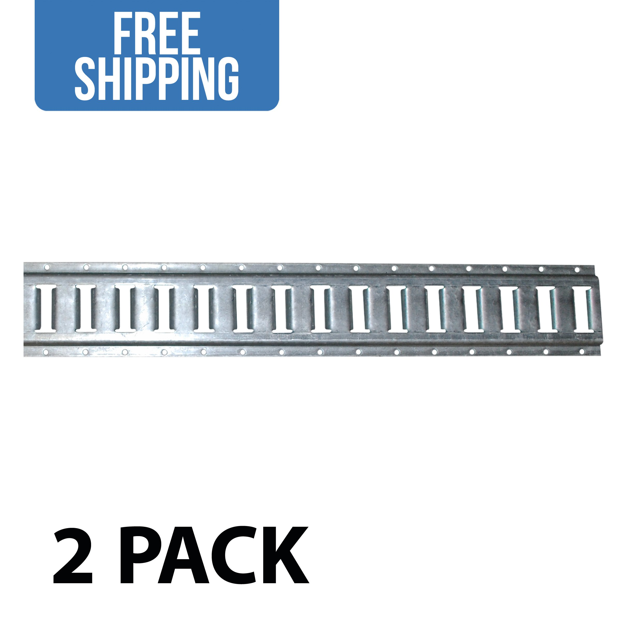 8' Horizontal E-Track - 2 PACK - Shippers Supplies - Tie Down Rail Made with 12 Gauge Galvanized Steel for Securing Cargo in Your Trailer, Van, Pickup Truck and More!