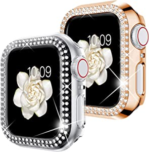 Goton Compatible for Apple Watch Case 40mm , (2 Packs) Women Girls Bling Crystal Hard Watch Face Cover Screen Frame Protector Bumper Case for iWatch SE / Series 6 / 5 / 4 (Clear+Rosegold, 40mm)