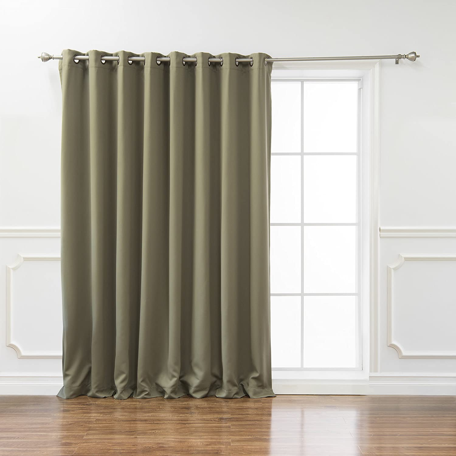 "Best Home Fashion Wide Width Thermal Insulated Blackout Curtain - Antique Bronze Grommet Top - Olive - 100""W x 84""L - (1 Panel)"