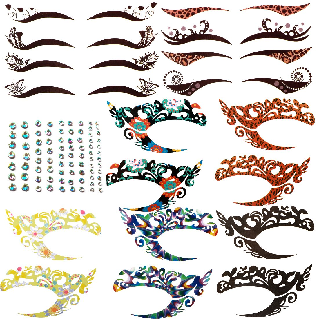kilofly 8 Sets Temporary Eye Tattoo Makeup Transfer Stickers Crystal Gem Liners