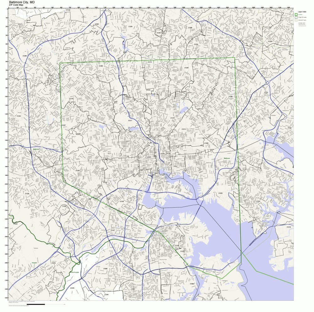 Amazon Com Baltimore City County Maryland Md Zip Code Map Not