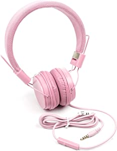 DURAGADGET Pink Ultra-Stylish Kids Fashion Headphones w/Padded Design & Microphone - Compatible with Acer Aspire R13 and R14 Laptop