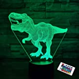 Dinosaur Lamp,FULLOSUN 3D Illusion Night Light Kids Toy, 16 Colors Changing Remote Control Optical Bedroom Decor Perfect…