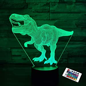 Dinosaur Lamp,FULLOSUN 3D Illusion Night Light Kids Toy, 16 Colors Changing Remote Control Optical Bedroom Decor Perfect Birthday Gifts for Boys Child