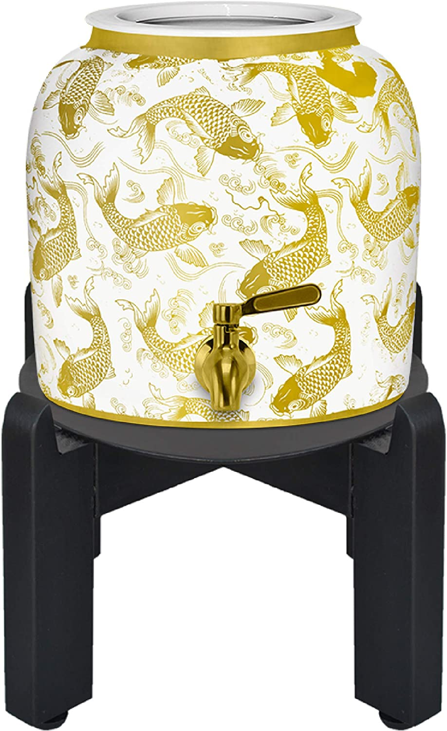 Geo Sports Porcelain Crock Water Dispenser (Shiny Series) w/ 8 Inch Wood Stand, Ceramic Lid Included (Shiny Gold Fish Design)