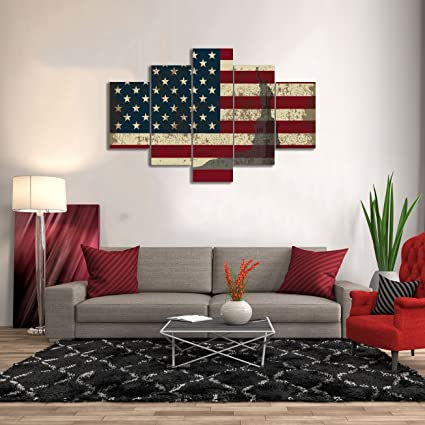 Yatsen Bridge Patriotic Concept Canvas Retro Painting American Flag Red  Blue Artwork Statue Of Liberty Print