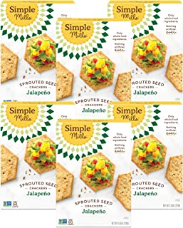 product image for Simple Mills Jalapeno Gluten Free Sprouted Seed Crackers with Chia Seeds, Hemp Seeds, Sunflower Seeds, Flax Seeds, and Sunflower Oil, Made with whole foods, 6 Count (Packaging May Vary)