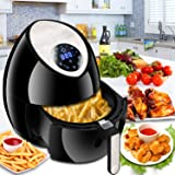 SUPER DEAL 1500W Electric Air Fryer with Rapid Air Technology Touch Screen 7 Cooking Presets Menu, Timer and Temperature Control, 3.7 QT