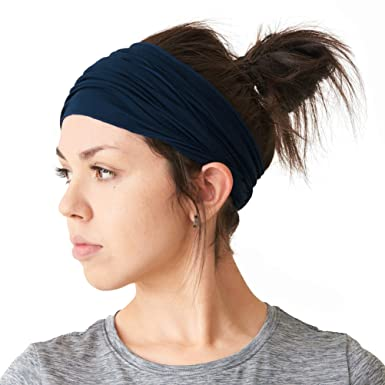 6f35cc5a4ab7f7 Casualbox Herren elastisch Bandana Stirnband Headband Japanisch lang Haar  Dreads Kopf wickeln Navy