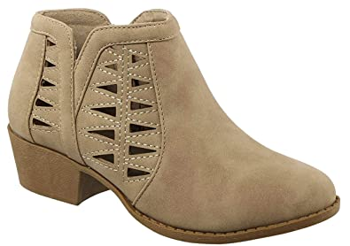 Glenda Faux Leather Khaki Zipper Thick Chunky Heel Round Toe Distressed School Waterproof Winter Walking Botines