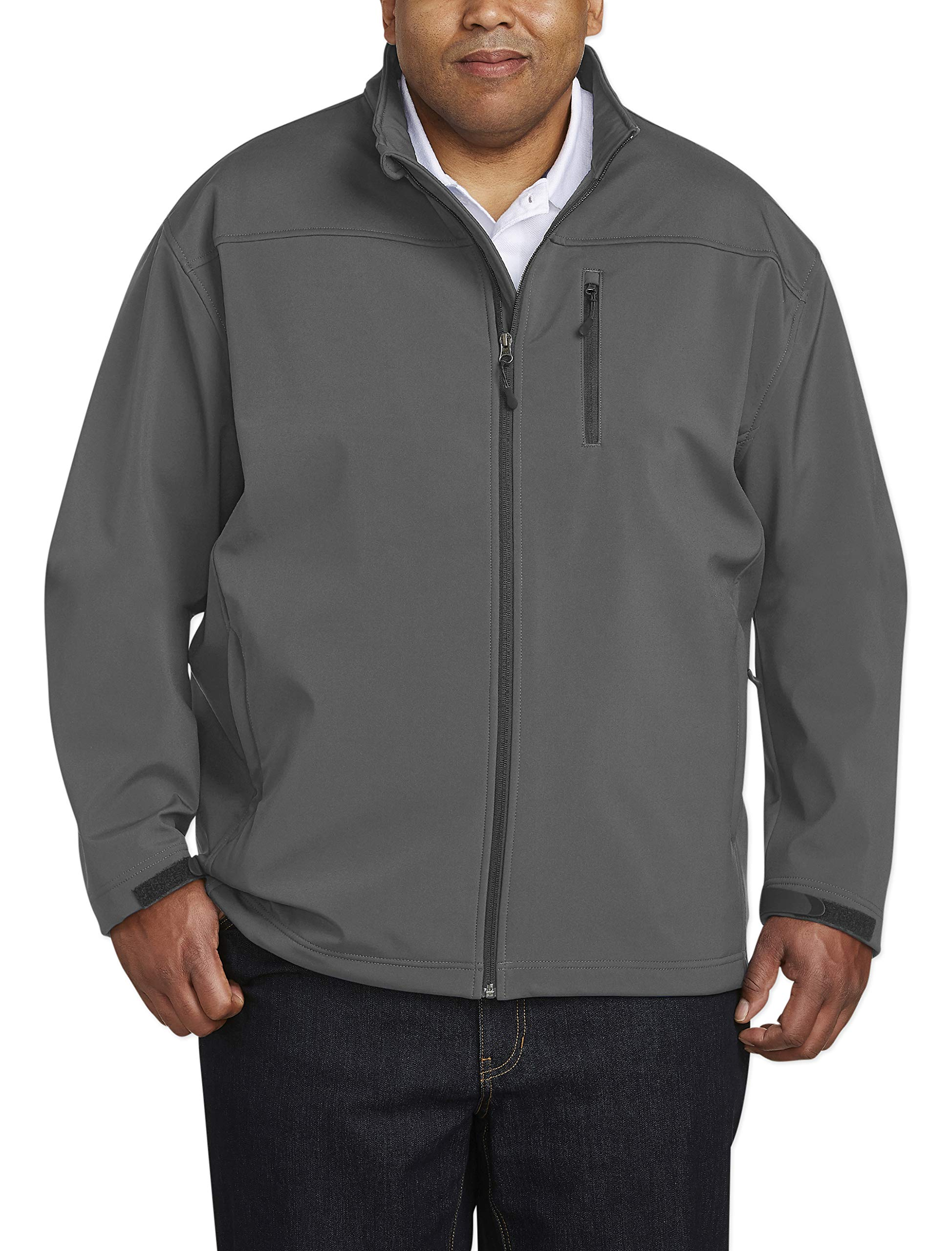 Amazon Essentials Men's Big & Tall Water-Resistant Softshell Jacket fit by DXL, Gray, 5X Tall by Amazon Essentials