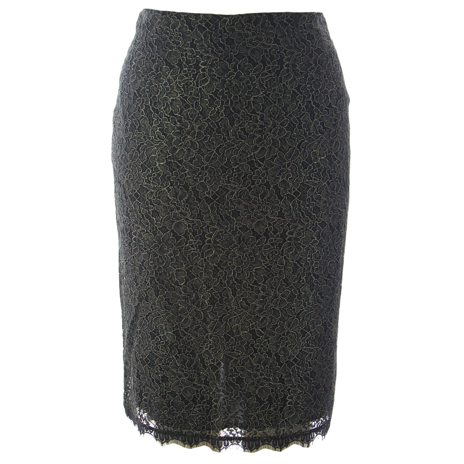 Marina Rinaldi Women's Chanson Lace Straight Skirt 20W / 29 Black