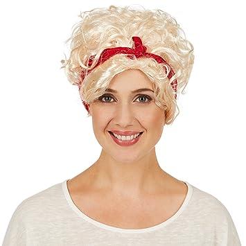 dressforfun Peluca de Rockabilly para Mujer | Con Cinta para el Pelo Roja | La Peluca