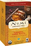 Numi Organic Turmeric Tea Three Roots, (Pack of 3 Boxes) 12 Bags Per Box, Organic Turmeric Blended with Ginger, Licorice & Rose in Non-GMO Biodegradable Tea Bags, Caffeine Free