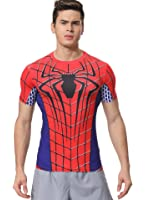 Red Plume Men's Compression Sports Fitness Shirt Armor, Men Spider T-Shirt