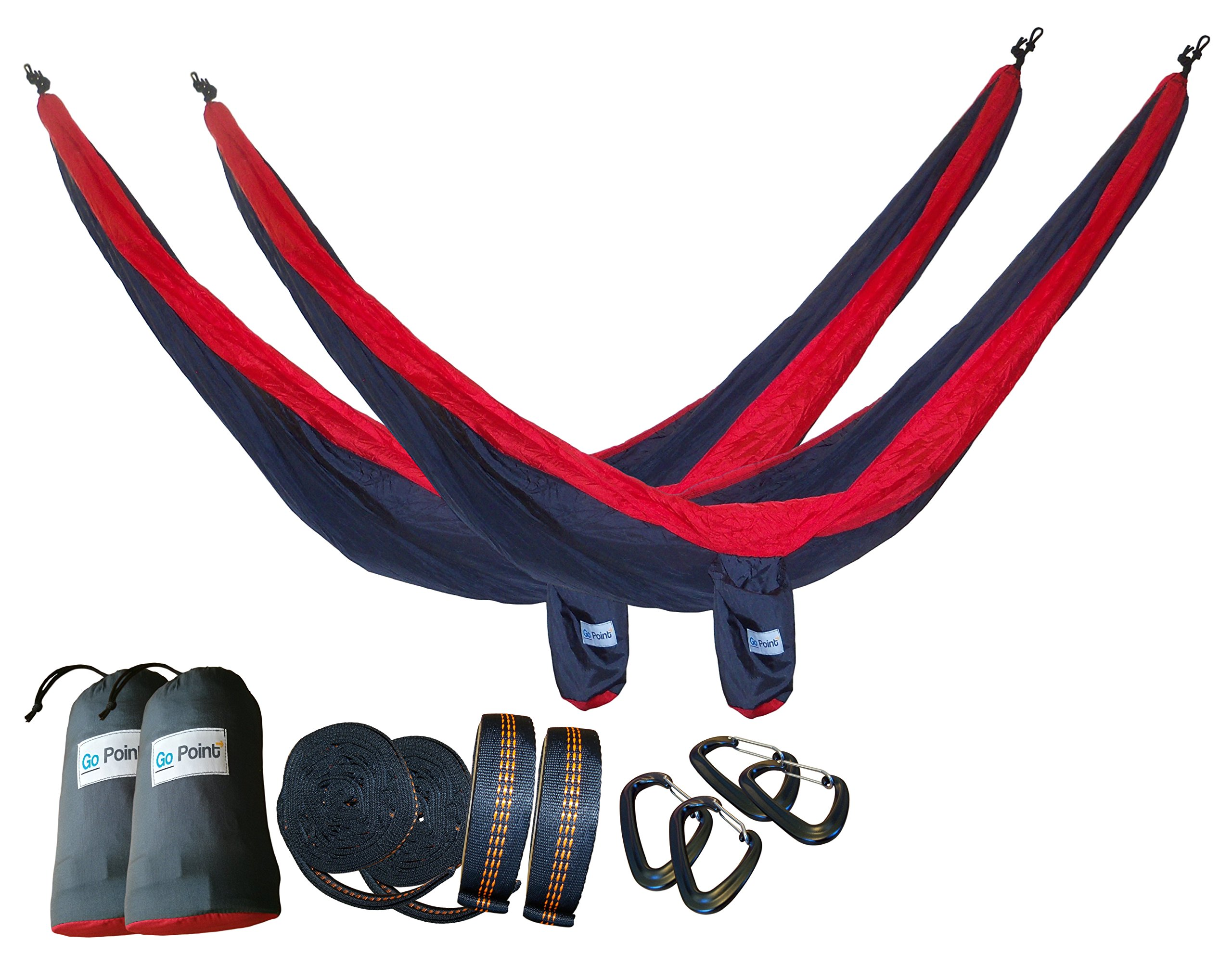 GoPoint Double Parachute Hammocks With Tree Straps - QUICK And EASY To Hang Portable Lightweight Nylon Camping Hammocks, Red and Grey (Pack of 2)