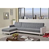 3M Linen Fabric 5 Seater Sofa Bed Modular Recliner Corner Futon Lounge Couch (Black&White)