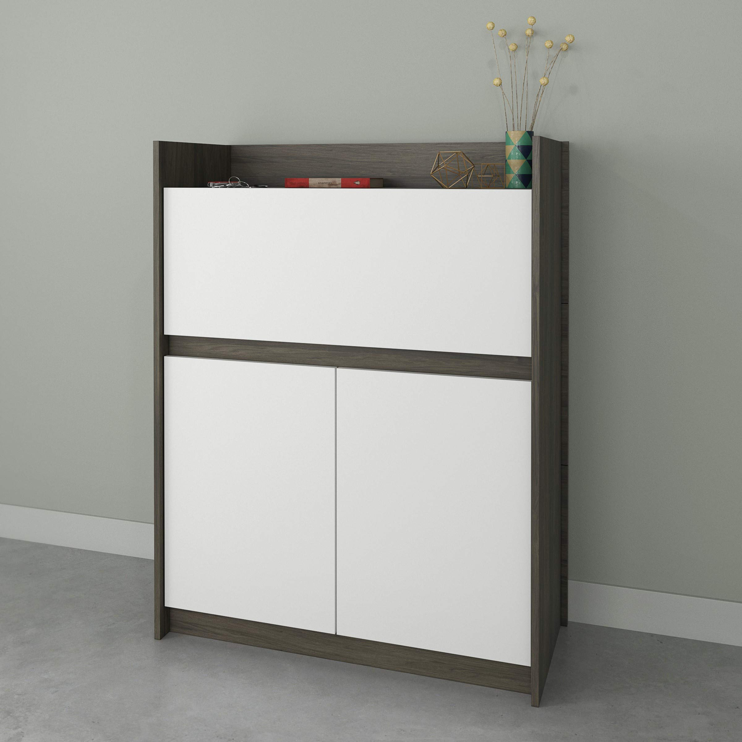 Nexera Chrono 351648, Bark Grey & White Secretary Desk, by Nexera